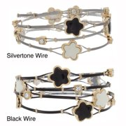 NEXTE Jewelry Star Beads and Rhinestone Cable Stack Bracelets Black Wire Star Stack Set