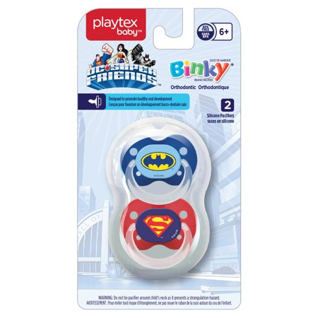 Playtex Silicone Orthodontic Super Friends Binky Pacifiers 6 Months+ 2 Pack Styles/Colors May Vary](Led Blinkies)