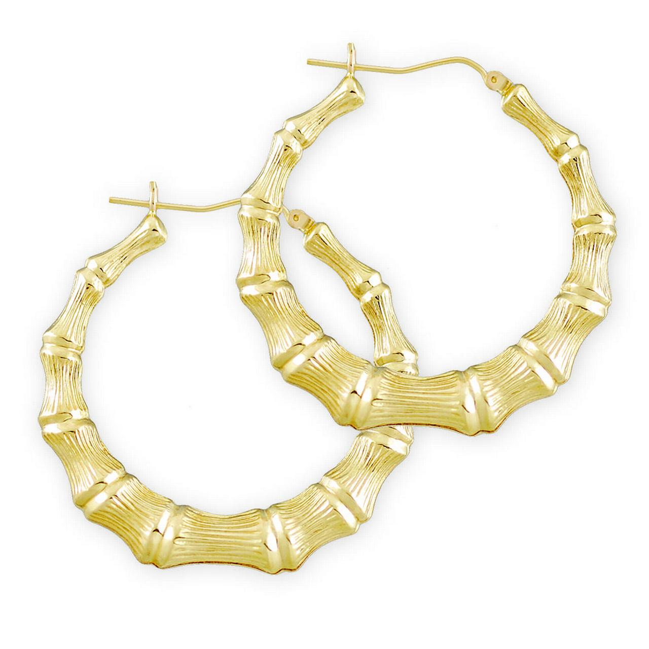 Soul Jewelry 10k Gold Round Bamboo Hollow Hoop Earrings 1 11 16