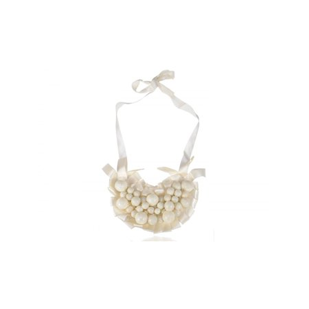 Gorgeous Large Festive Fancy Clustered Ivory Faux Pearl Ribbon Bib - Pearl Cluster Necklace