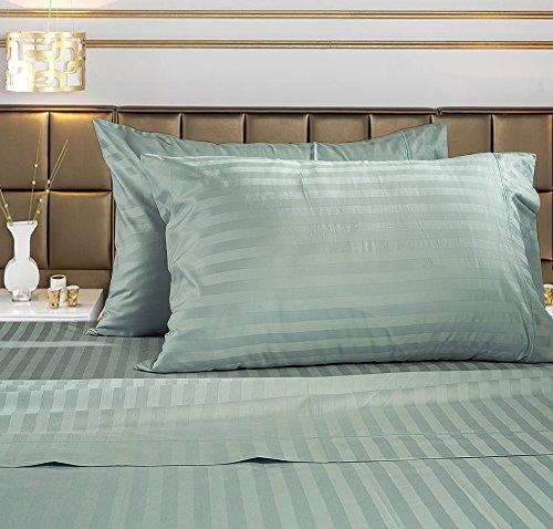 Image of Damask Stripe 100% Supima Cotton 500 Thread Count Hotel Quality Supima Luxury Cotton Sateen Deep Pocket Super Soft Sheet Set, Qu