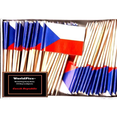 One Box Czech Republic Toothpick Flags, 100 Small Czech Cupcake Flag Toothpicks or Cocktail Picks](Pirate Flag Toothpicks)