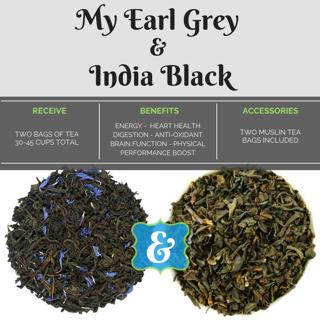 "BlendBee ""Black Tea"" Combo, Earl Grey & India, 3 oz. Loose-leaf Tea"