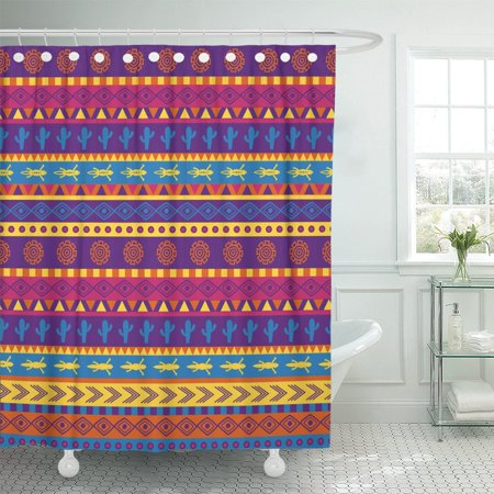 BSDHOME Brown American Mexican Pattern in Bright Color Scheme Orange Shower Curtain 60x72 inches - image 1 of 1