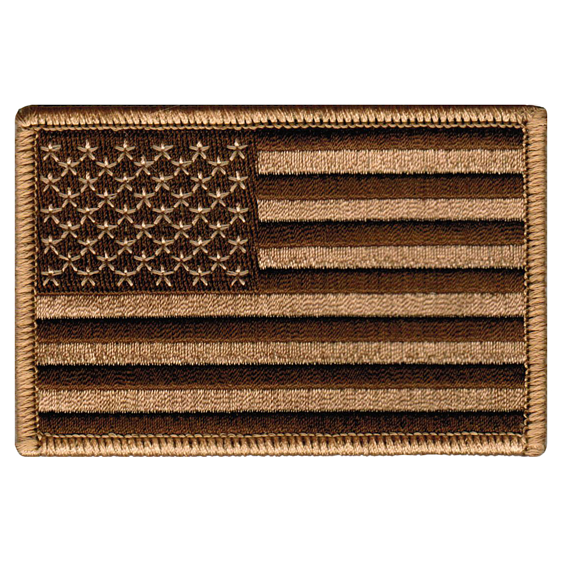 American Flag Iron-on Embroidered Patch Camo Tan