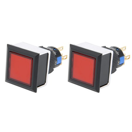2pcs Momentary Push Button Switch 16mm Mounting Dia SPDT Square w 24V Red LED - image 7 of 7