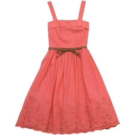 Big Girls Tween 7-16 Coral Belted Embroidered Eyelet Border Dress, 7 [RRE54894] - Zoe Dresses For Tweens