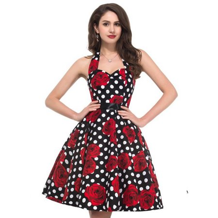 Women 50s Vintage Flower Polka Dot Print Audrey Hepburn Halter Dress Swing Dress
