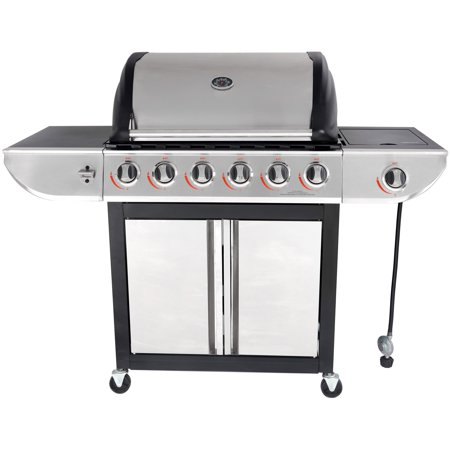 RevoAce 6-Burner LP Gas Grill with Side Burner, Stainless Steel