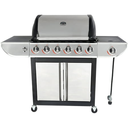 RevoAce 6-Burner LP Gas Grill with Side Burner, Stainless Steel and Black, GBC1768WB