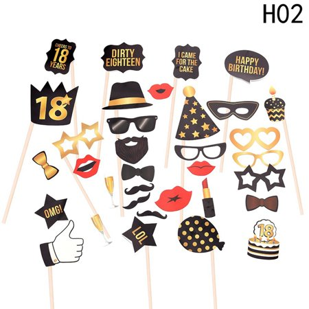 Fancyleo 34PCS 16th 18th 21st 30th 40th 50th 60th Birthday Party Photo Booth Props Kit Suitable for Unisex Birthday Celebration DIY Photo