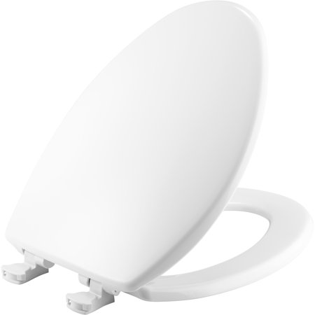 MAYFAIR Elongated Solid Plastic Toilet Seat in White with STA-TITE Seat Fastening System and Easy•Clean & Change Hinge ()