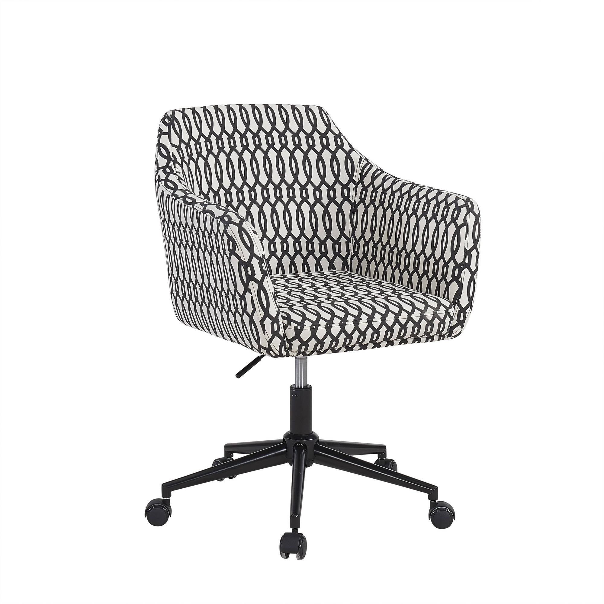 Upholstered Office Chair Black Trellis Armchair Steel Frame Chrome Base  Wheels