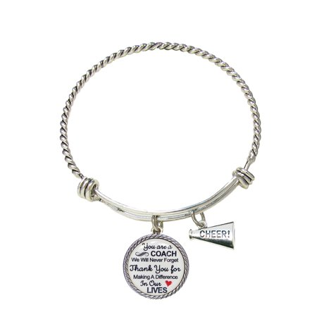 Cheer Coach Thank You Gift Silver Bracelet - Cheer Jewelry