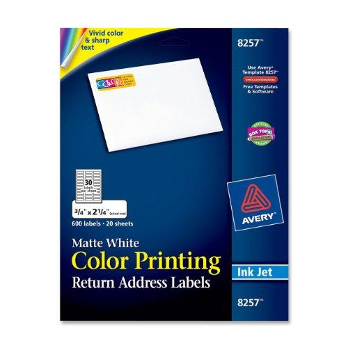 "Avery Mailing Label - 0.75"" Width X 2.25"" Length - 600 / Pack - Rectangle - Inkjet - White (AVE8257)"