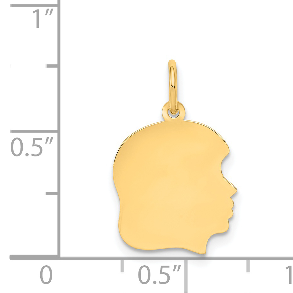 14K Yellow Gold Plain Medium .013 Gauge Facing Right Engravable Girl Head Charm - image 1 de 2
