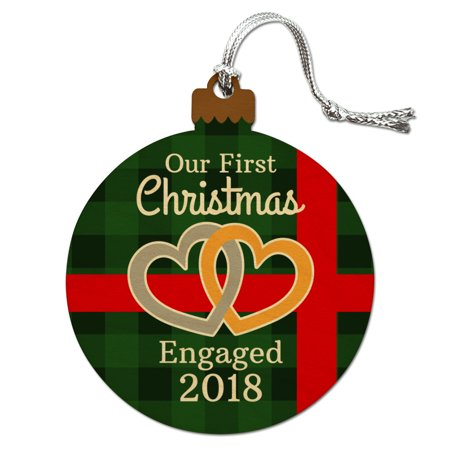 Our First Christmas Engaged 2018 Hearts Green Plaid Wood Christmas Tree Holiday Ornament