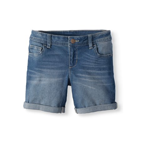 Girls Belted Denim Bermuda - Wonder Nation Denim Bermuda Short (Little Girls, Big Girls & Big Girls Plus)