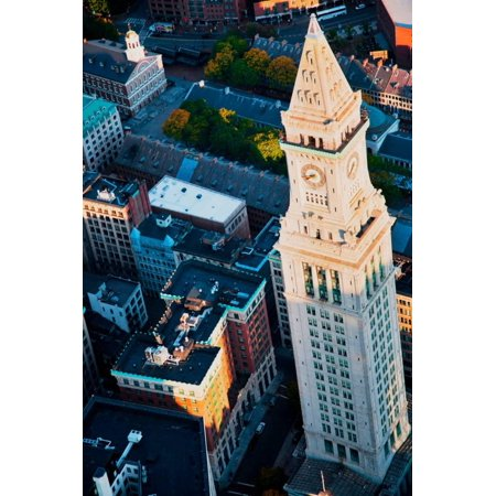 Bostons Custom House - Aerial View of Custom House Tower, Boston, MA Print Wall Art