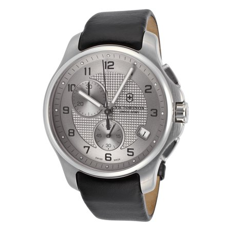 Swiss Army 241553 Men's Classic Officer's Chrono Black Genuine Leather Grey Dial Ss (Polished Genuine Swiss)