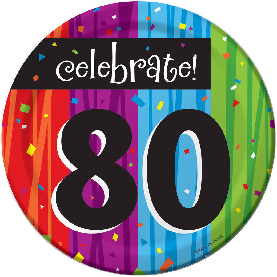 Milestone Celebrations 80th Birthday Dessert Plates, 8pk