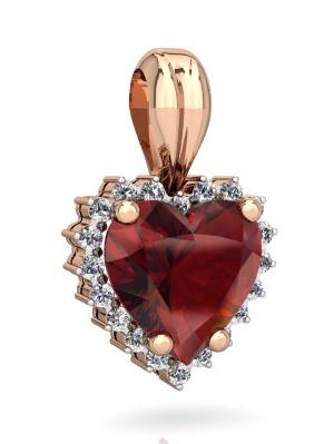 Garnet Halo Heart Pendant in 14K Rose Gold by