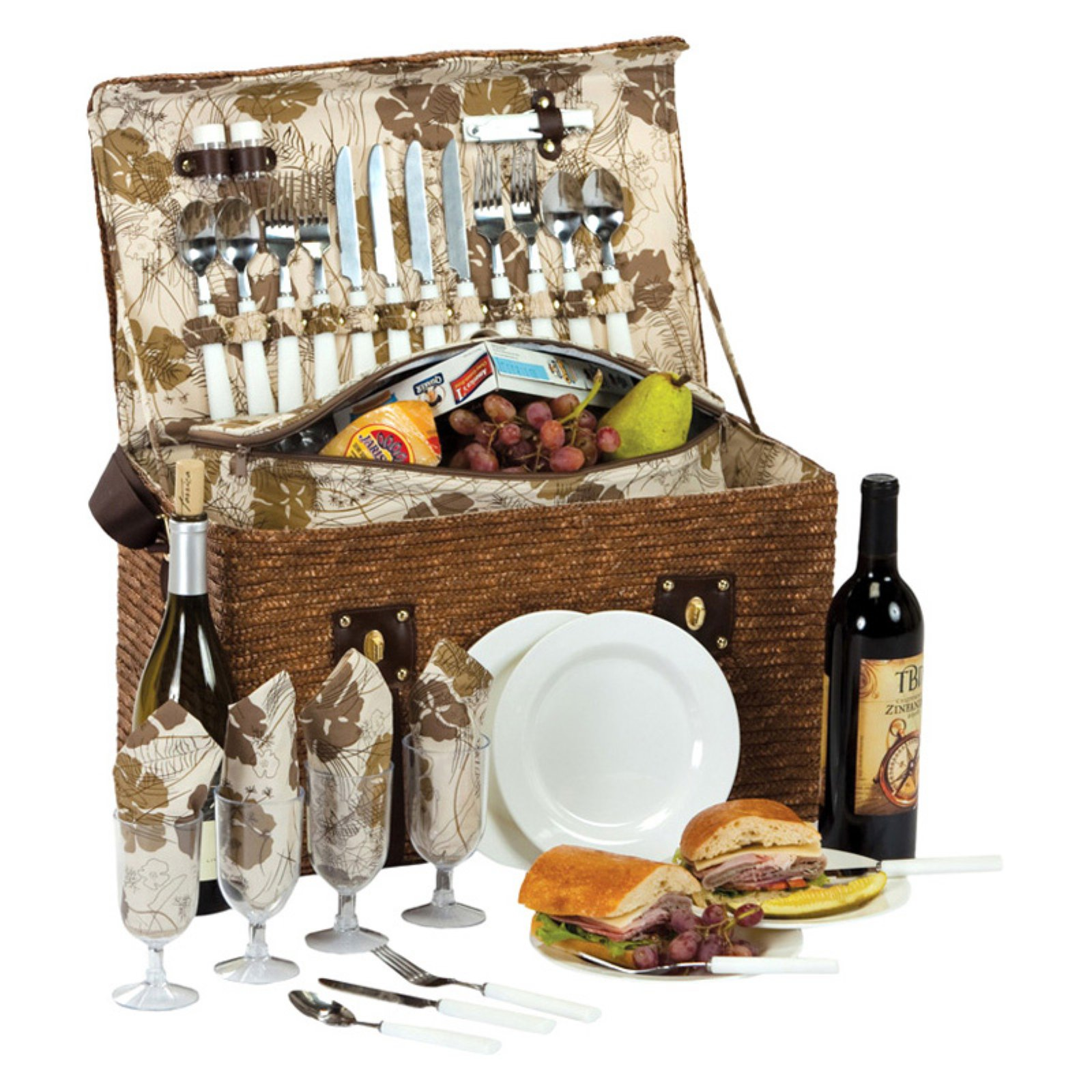 Picnic Plus Woodstock 4 Person Picnic Basket - Fern Lining