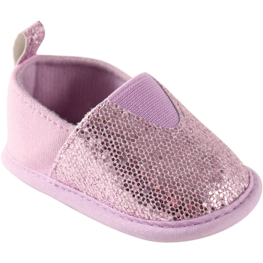 Luvable Friends Newborn Baby Girl Sparkly Slip-On Shoes