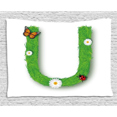 Letter U Tapestry, Capital U with Daisy Petals Ladybug Garden Blossoms Girls Nursery Theme, Wall Hanging for Bedroom Living Room Dorm Decor, 60W X 40L Inches, Green Multicolor, by - Ladybug Letters