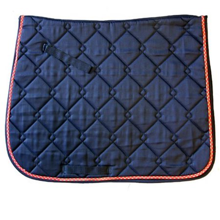 Exselle 158554NY Quilted Dressage Saddle Pads - Navy, Red & Grey