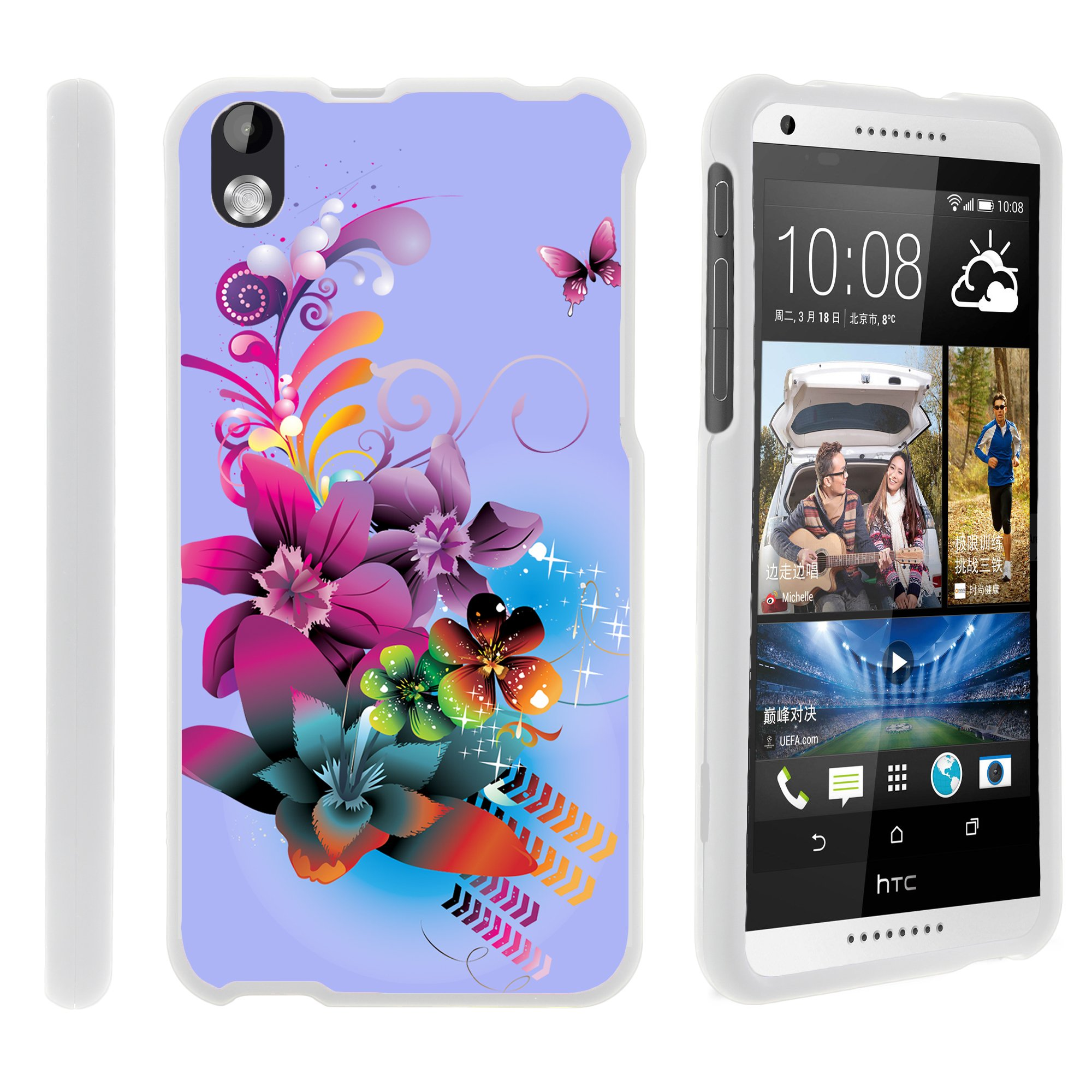 HTC Desire 816, [SNAP SHELL][White] 2 Piece Snap On Rubberized Hard White Plastic Cell Phone Case with Exclusive Art -  Purple Flower Butterfly
