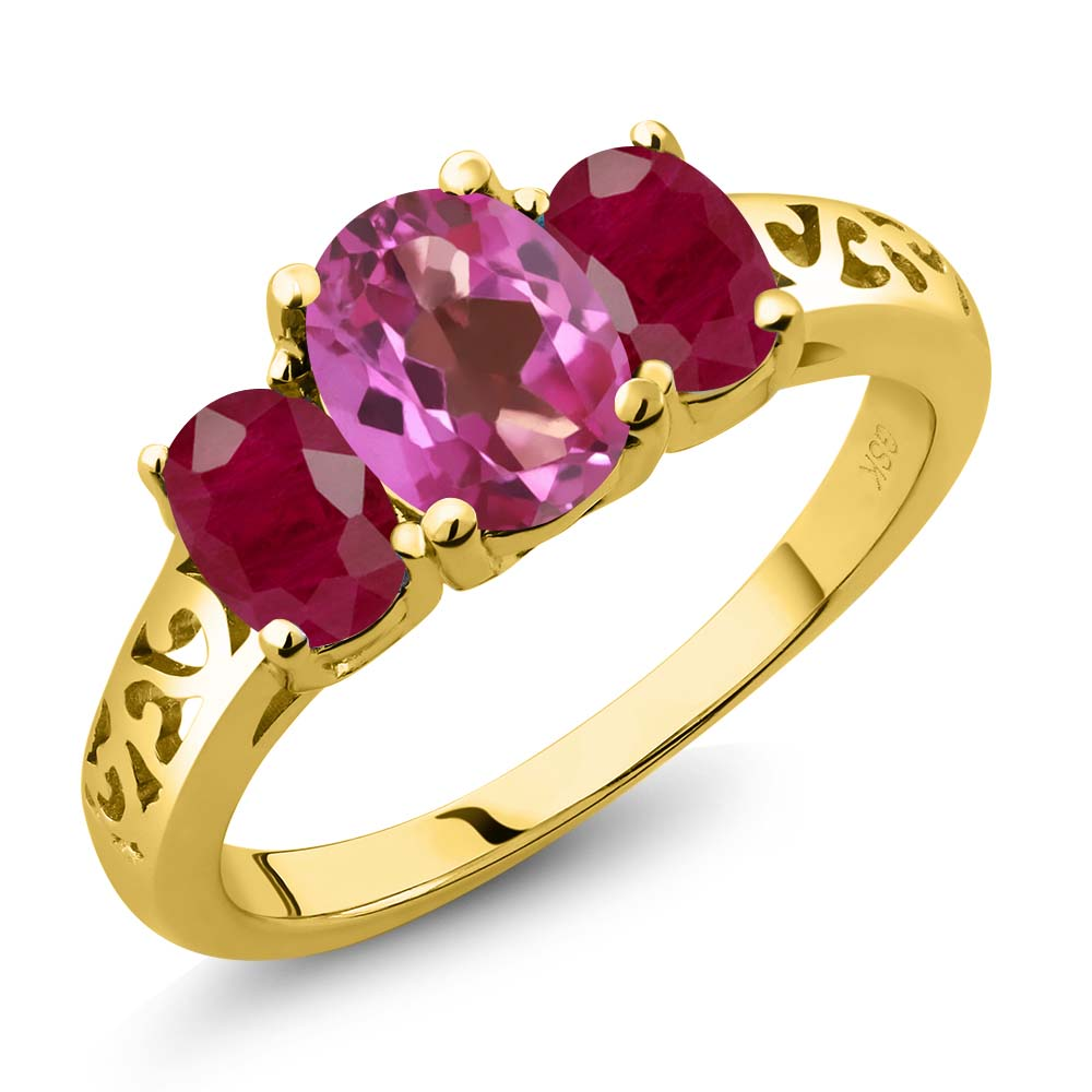 2.50 Ct Oval Pink Mystic Topaz Red Ruby 18K Yellow Gold 3-Stone Ring by