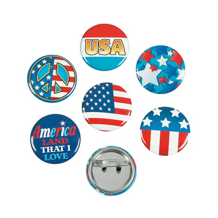 Fun Express - Patriotic Mini Buttons for Fourth of July - Jewelry - Pins - Novelty Pins - Fourth of July - 48 Pieces (Photo Button Pins)