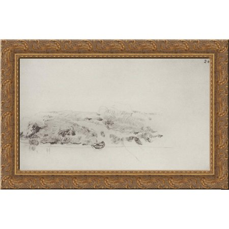 High riverbank with boat and planned bridge 24x16 Gold Ornate Wood Framed Canvas Art by Isaac Levitan - Love Boat Isaac