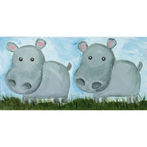 Judith Raye Paintings LLC Two Hippos by Judith Raye Painting Print