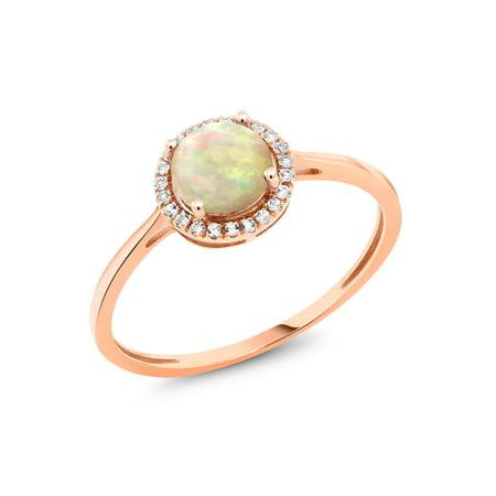 9d95b0a98461c Gem Stone King - 0.78 Ct Round Cabochon White Ethiopian Opal White Diamond  10K Rose Gold Ring - Walmart.com