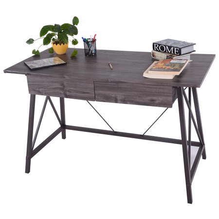 Costway Wood Writing Desk Computer Table With Drawers Home
