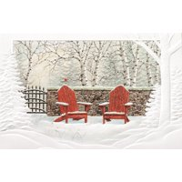 """Set of 16 Red Adirondack Chairs in the Snow Christmas Greeting Card 5.38"""" x 8.25"""""""
