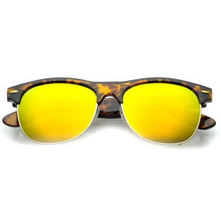 d2396a05fb sunglassLA - Classic Half Frame Colored Mirror Square Lens Horn Rimmed  Sunglasses 55mm (Tortoise-Gold   Yellow Mirror) - Walmart.com