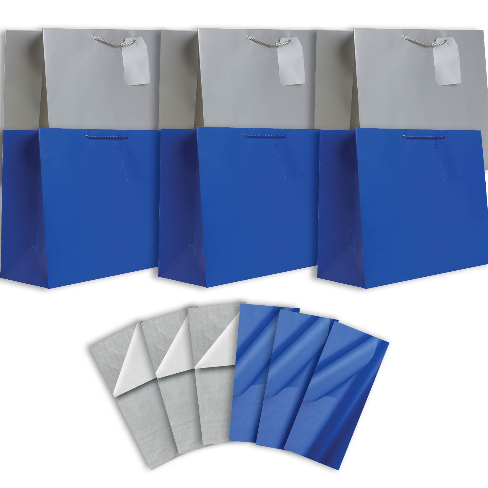 Jillson & Roberts Solid Color Matte Jumbo Gift Bag & Tissue Assortment, Hanukkah (6 Bags)