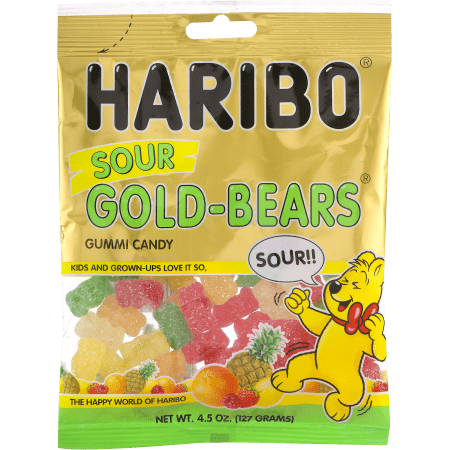 (2 Pack) Haribo Sour Gold Bears Gummi Candy, 4.5 - Gold Candy Apples