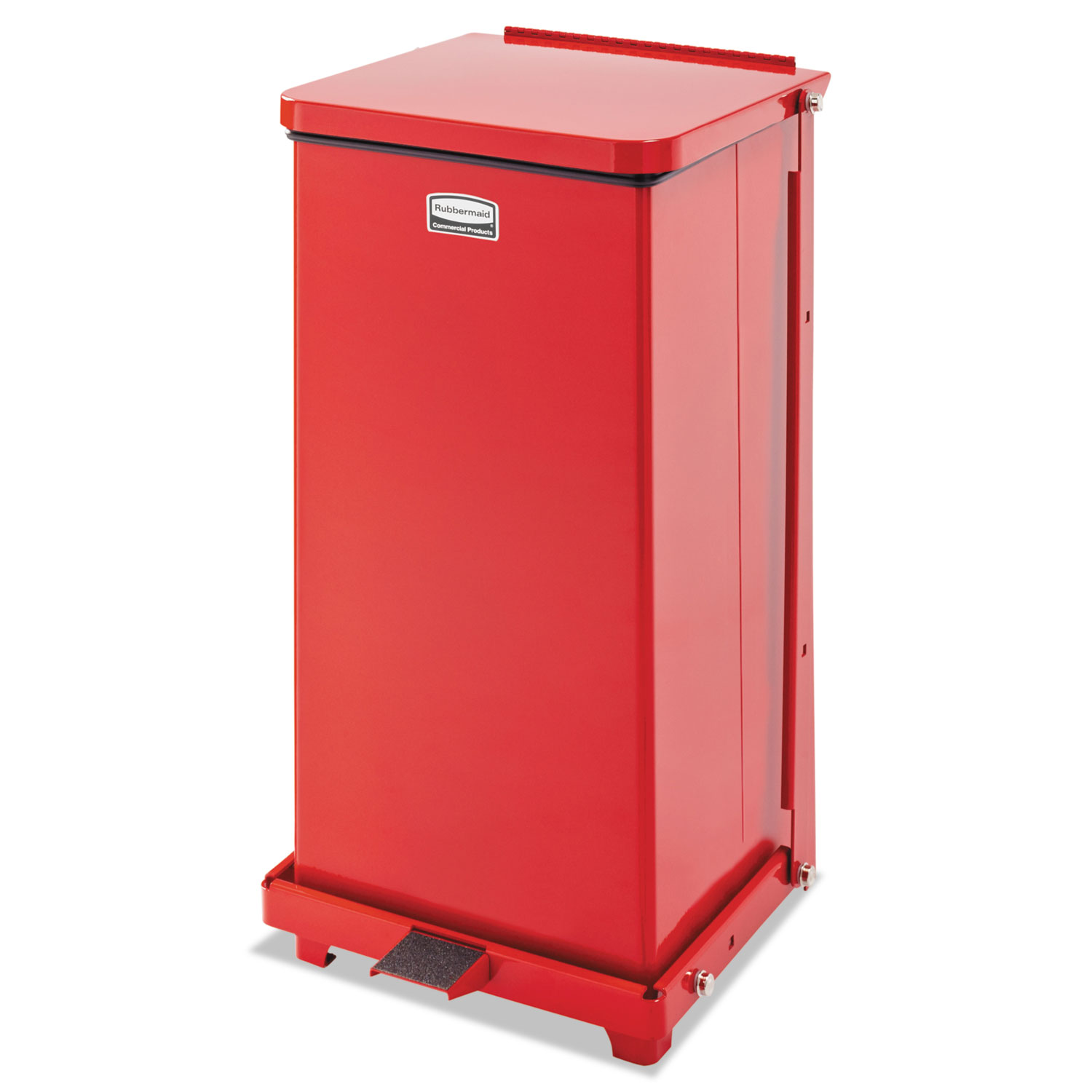 "Defenders Square Step Can, 12 gal, Red, 12"" Square, 23"" High"