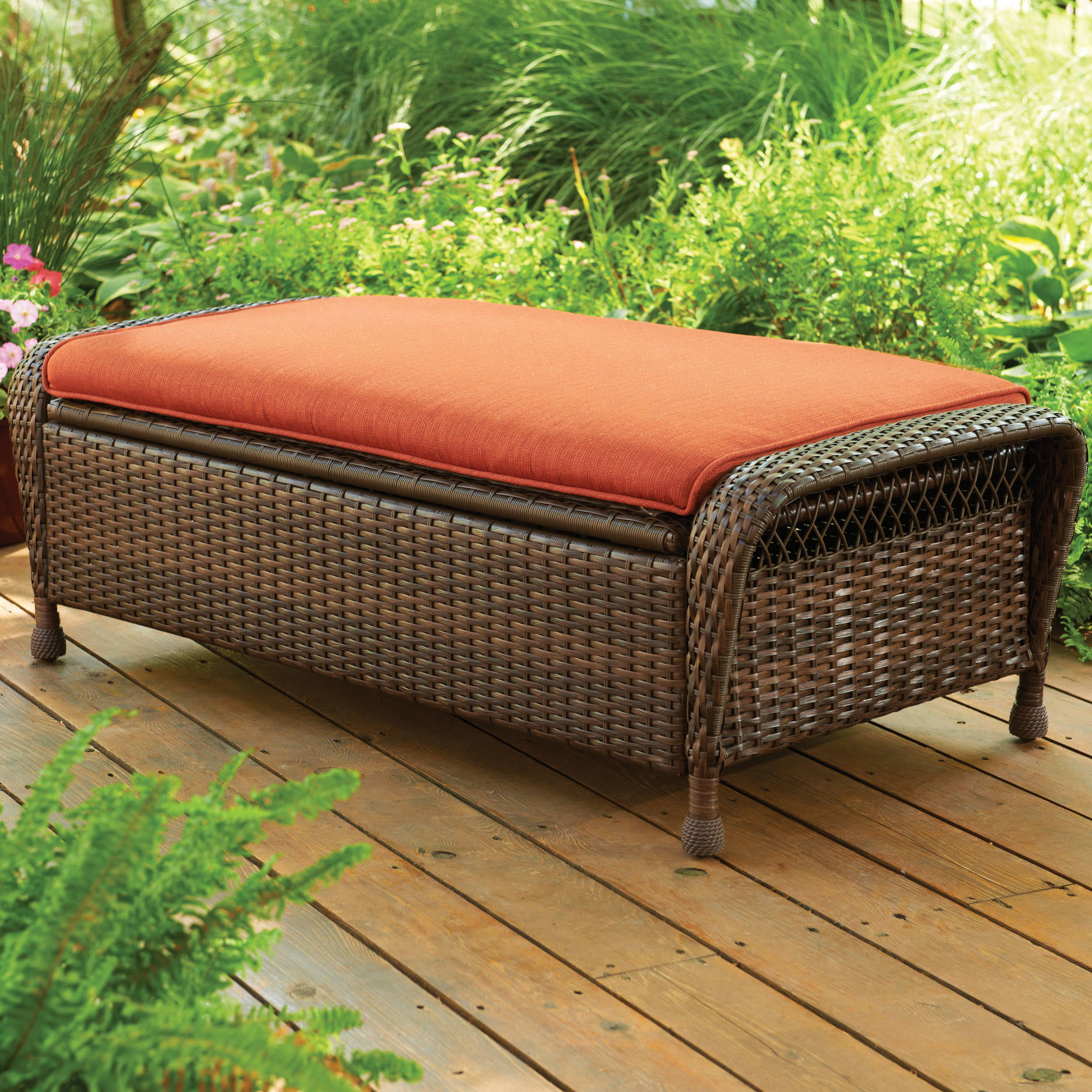 Awe Inspiring Better Homes And Gardens Azalea Ridge Outdoor Storage Ottoman Walmart Com Creativecarmelina Interior Chair Design Creativecarmelinacom