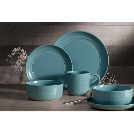 Safdie & Co. 16-Piece Stoneware Dinnerware Set, Blue, Ridge