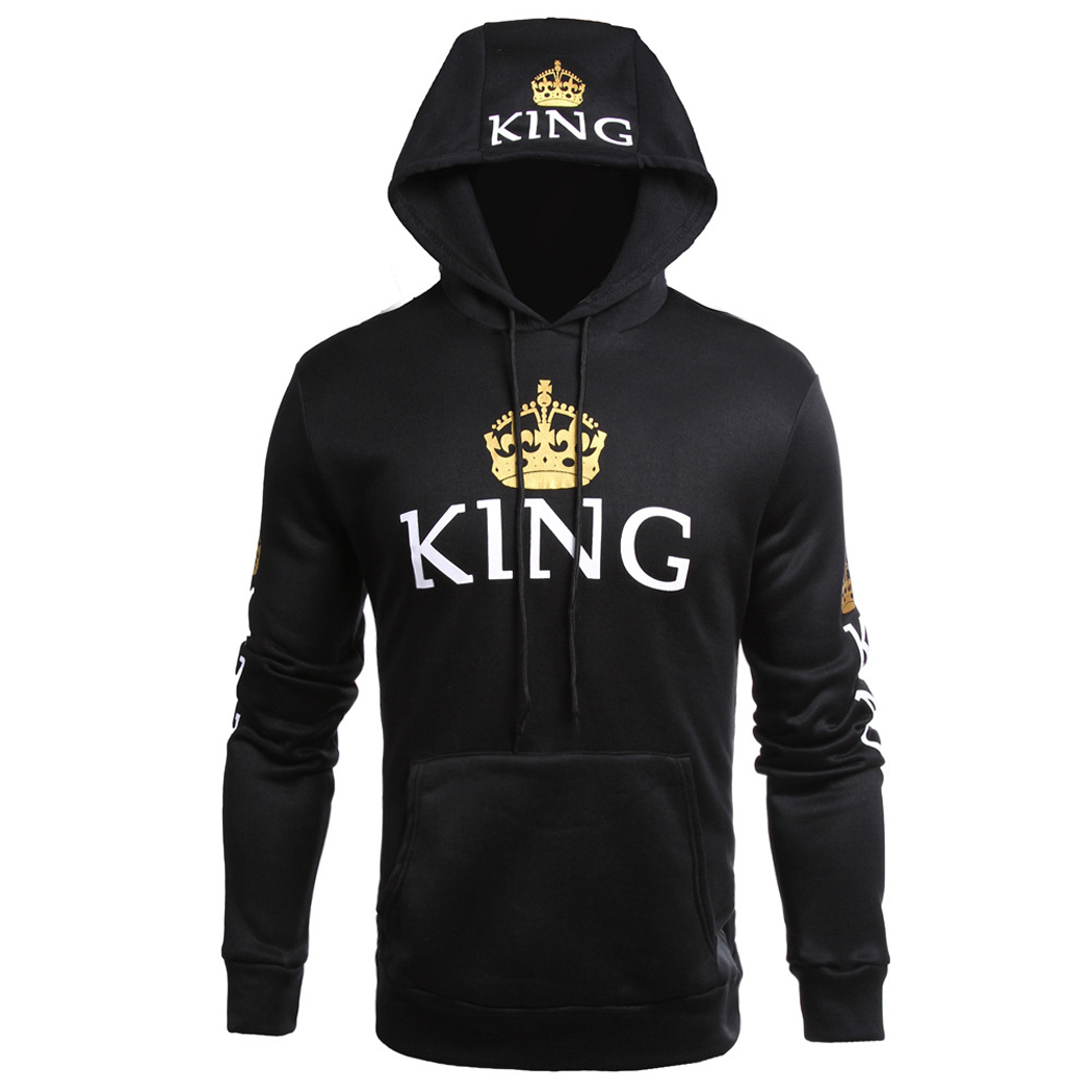 Coxeer Queen and King Hoodies Pullover Hoodie Printed Long Sleeve Hoodie Sweater Sport Hoodie for Couples