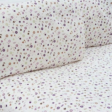 Mellanni 100% Cotton 4 Piece Printed Flannel Sheets Set - Deep Pocket - Warm - Super Soft - Breathable Bedding (Twin X-Large, Purple Flowers)