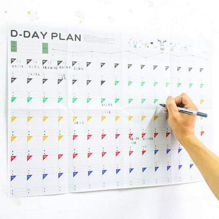 100 Days Planer Sheet Calendar Plan Paper 100 Days Countdown Schedule Wall Calendars-5 Pack (Calendar Sheets)