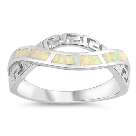 White Simulated Opal Greek Key Criss Cross Knot Ring Sterling Silver Band Size 9