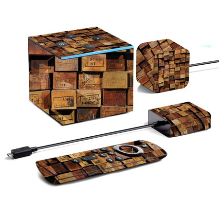 Skin For Amazon Fire TV Cube (2019) - Stacked Wood | MightySkins Protective, Durable, and Unique Vinyl Decal wrap cover | Easy To Apply, Remove, and Change