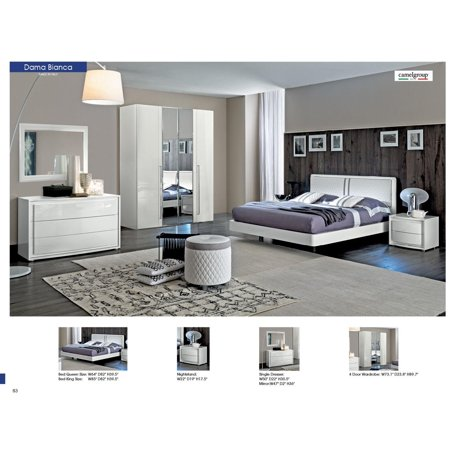 ESF Dama Bianca Modern White Leather High Gloss Queen Size Bedroom Set 5Pcs